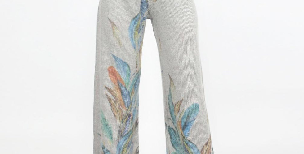 High Waist Feather Print Comfortable Maxi Pants