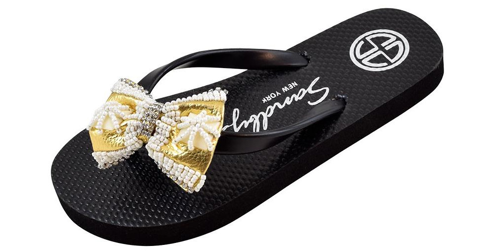 Gold & Pearl Bow  - Big Kids Sandal