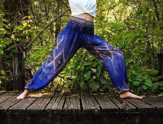 Blue PEACOCK Eye Women Boho Pants Hippie Pants