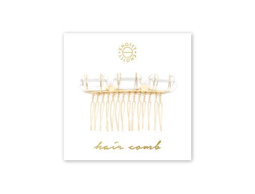 Crystal Quartz Hair Comb | Gold