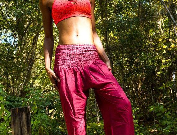 Burgundy Women Boho Pants Hippie Pants Yoga Pants Harem