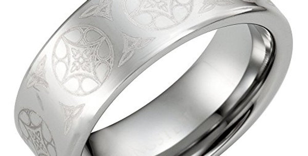 Men's Ring, Tungsten Men's Ring With Celtic Knot Engraving, Holiday Gift for Men