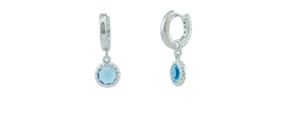 BecKids Blue CZ Huggie Kids Earrings: 925 Sterling Silver