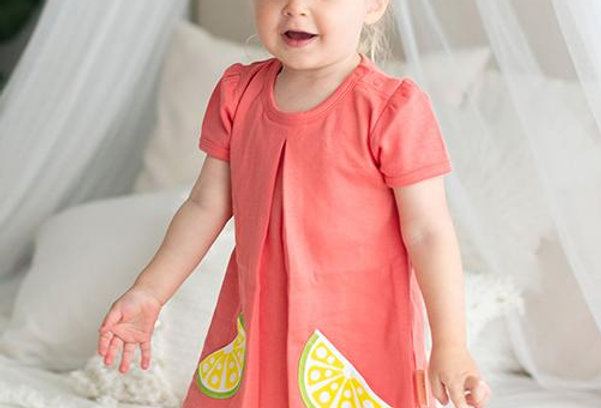 Citrus Garden: Organic A-Line Baby Girl Dress and Panty set