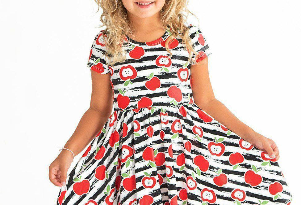Striped Apple Twirl Hugs Dress - RTS
