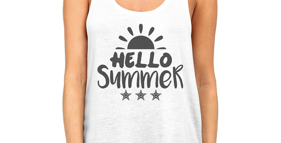 Hello Summer Sun Womens White Tank Top