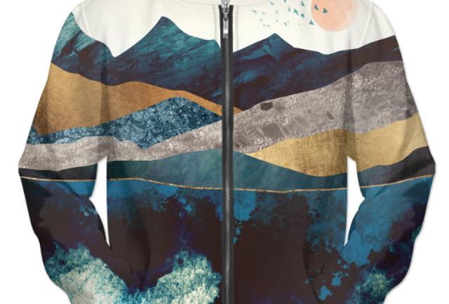 Blue Mountain Reflection 1 UNISEX ZIP HOODIE