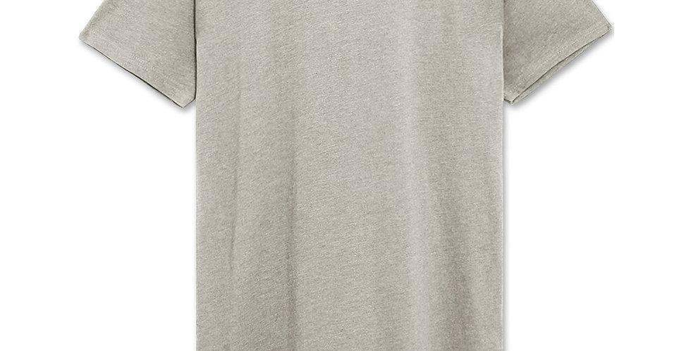 Drop Cut Longline T-Shirt (Grey Melange)