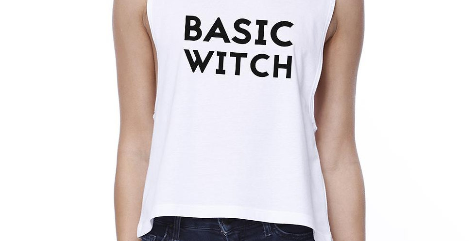 Basic Witch Womens White Crop Top