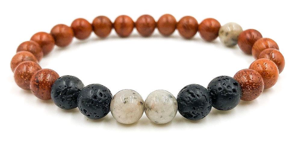 Grey Feldspar, Lava Rock, & Rosewood Beaded Bracelet