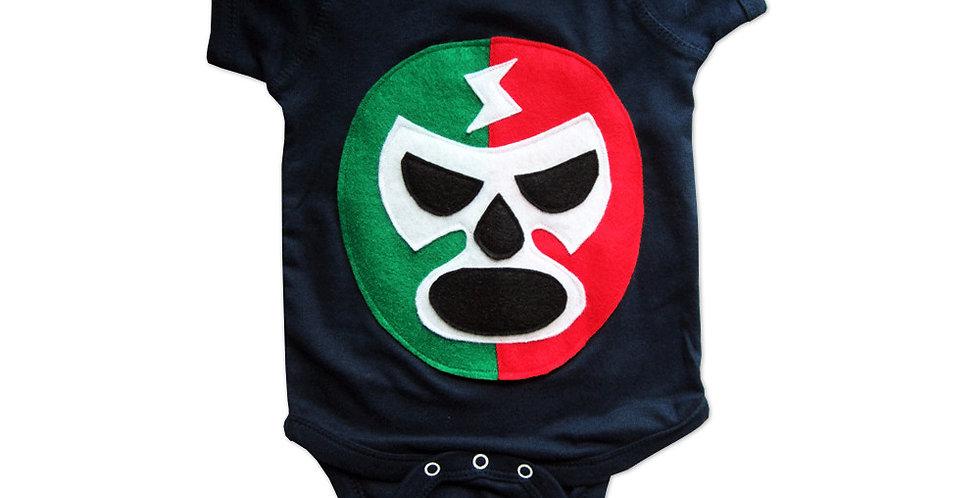 Baby Onesie - Luchador Rojo + Verde - Red + Green Mexican Wrestler