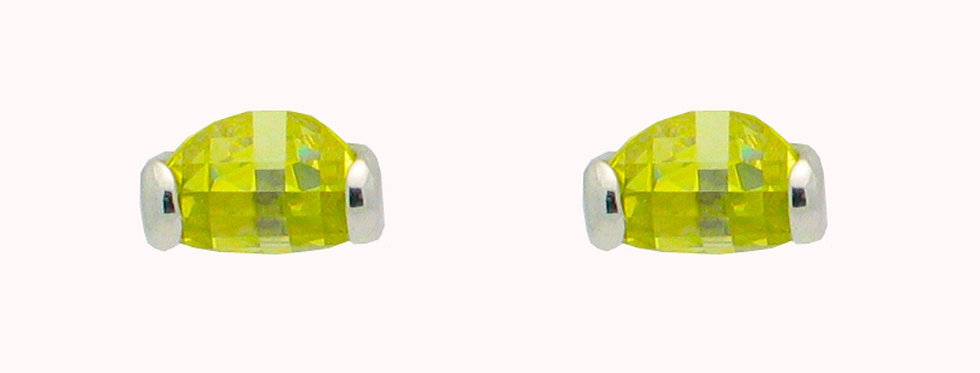 Electric Green Sterling Silver Stud Earrings for Girls