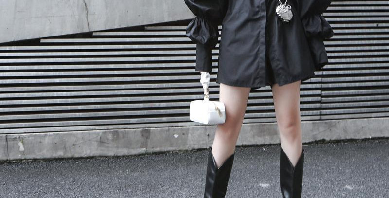 Daoko Pleated Puff Long Sleeve Shirt - Black