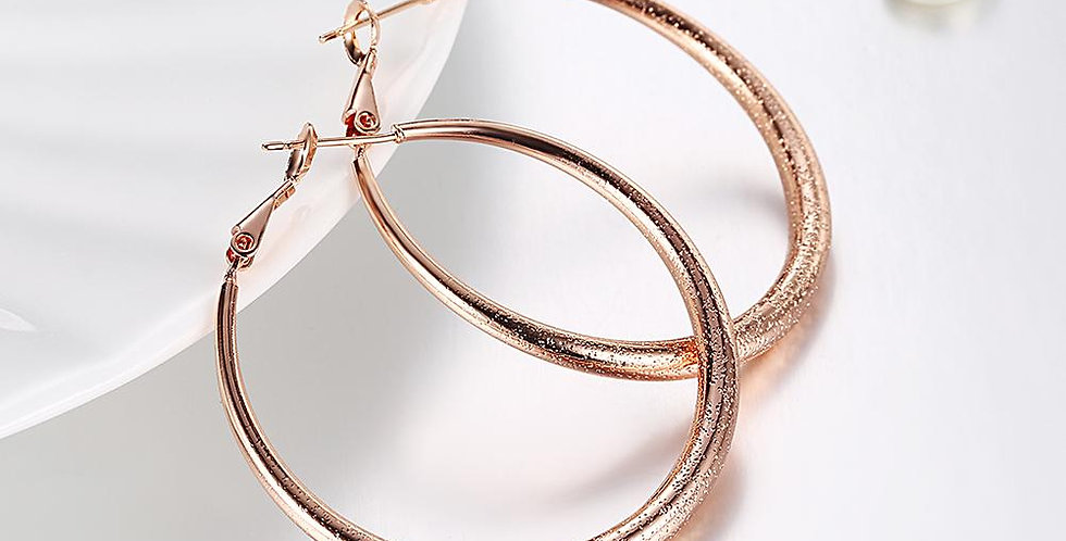 "1.6"" Round Hoop Earring in 18K Rose Gold Plated"