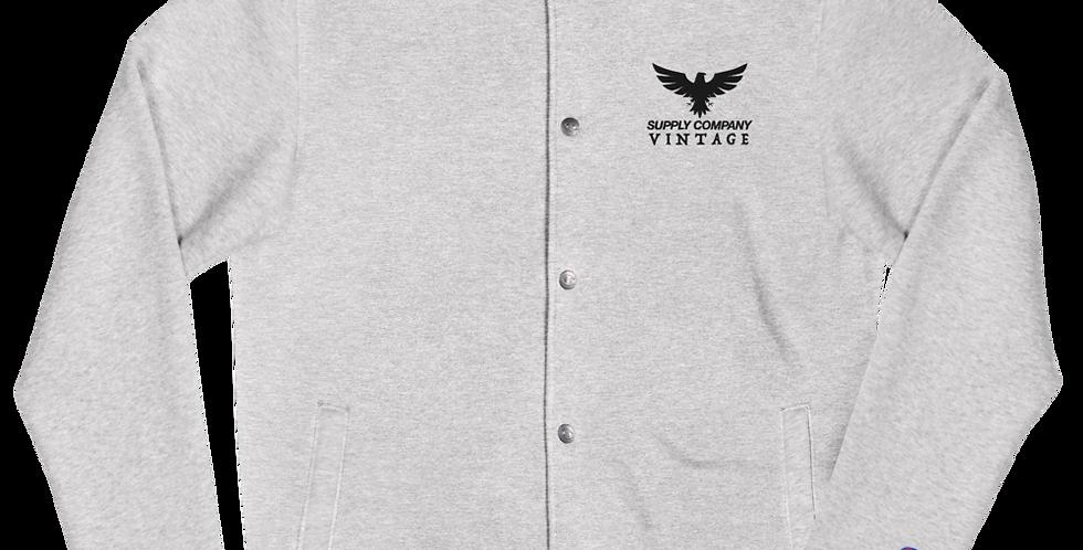 Men's Vintage Supply Co. Black/Grey Embroidered Champion Bomber Jacket