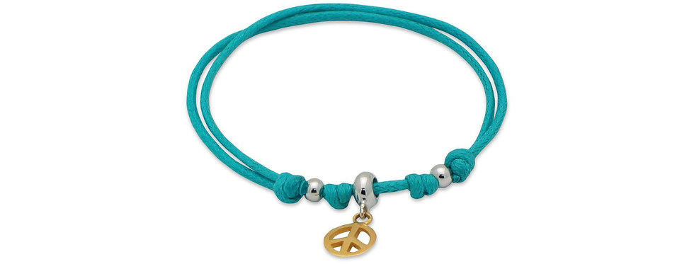 Turquoise Cord Bracelet Gold Peace Sign Charm   Sterling Silver, Adjustable