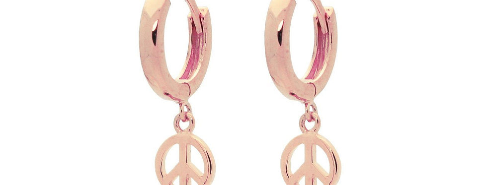 Mini Huggie Girls Earrings Peace Sign in Pink Plated Sterling Silver