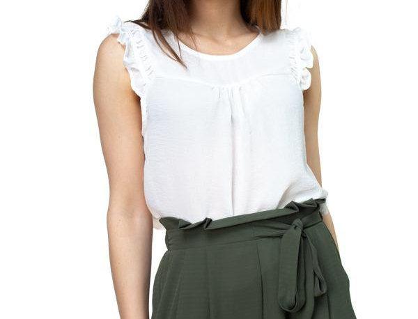 Ruffle Sleeve Top -White