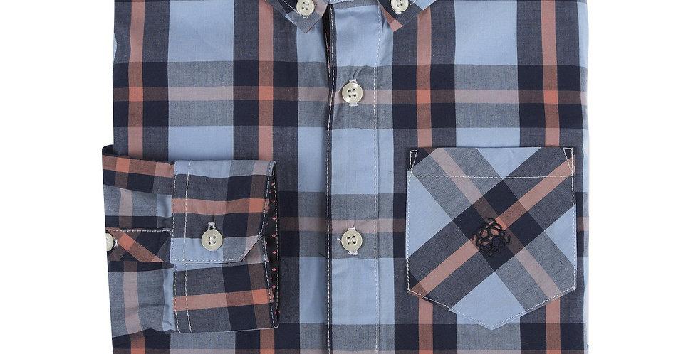 Blue, Navy & Coral Plaid LongSleeve Button-Down Shirt