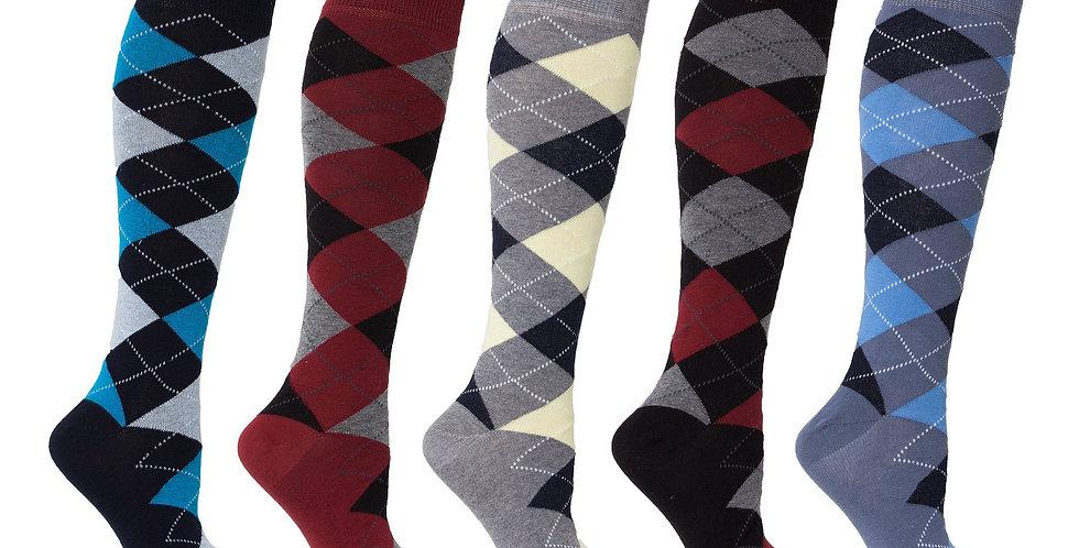 Women's High-Class Argyle Knee High Socks Set