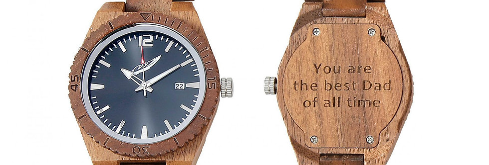 Men's Handcrafted Engraving Ebony & Kosso Wood Watch