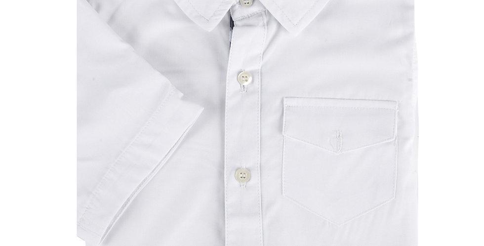 White Bamboo Short Sleeve Button-Down Shirt
