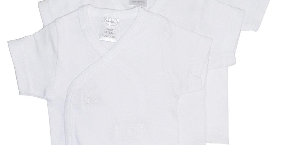 Bambini White Side Snap Short Sleeve Shirt - 3 Pack