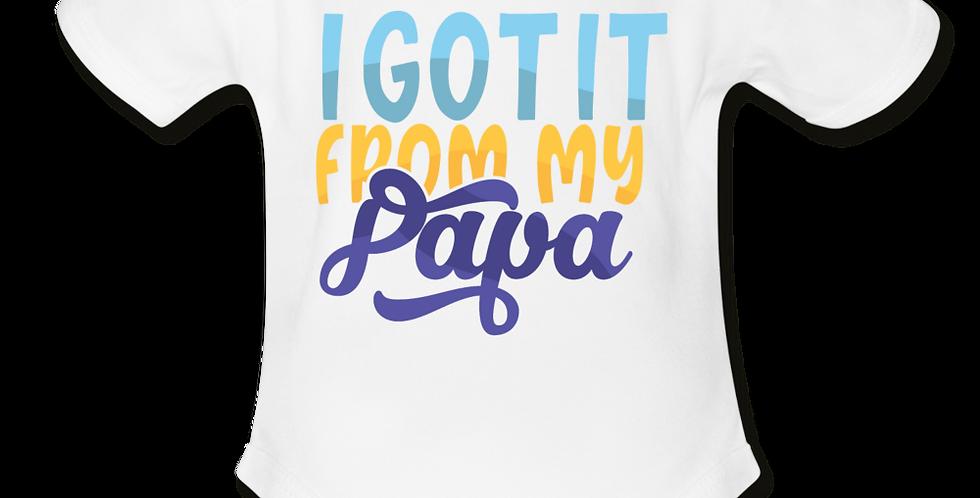 I Got It From My Papa Short Sleeve Baby Bodysuit
