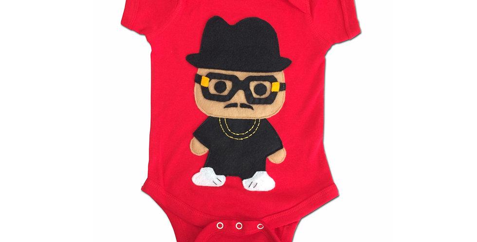 Rad Rapper - Tall Hat - Red Hip Hop Baby Onesie