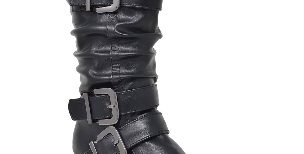 Toddler & Youth Strappy Buckle Heeled Mid Calf Boot