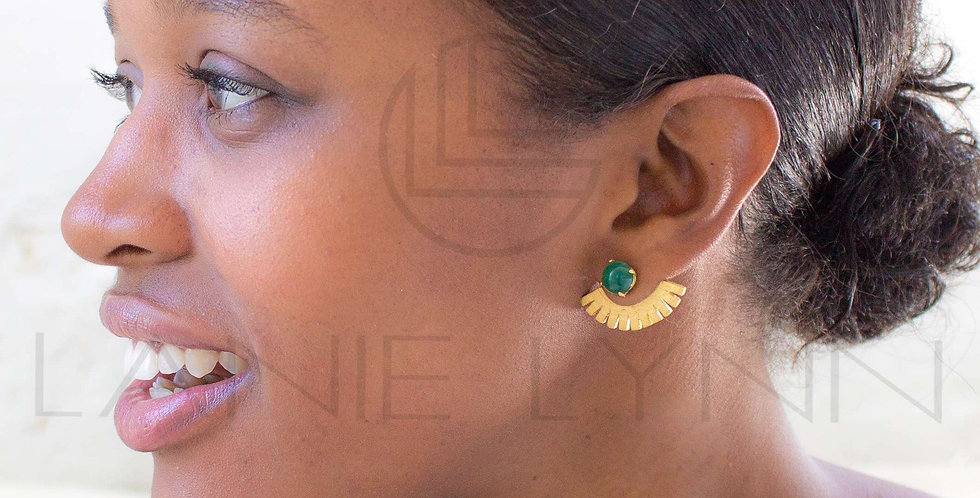 Green Onyx Egyptian Ear Jackets