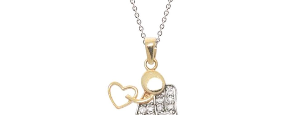 Love Angel Pendant Necklace in 18k Gold Plated Sterling Silver