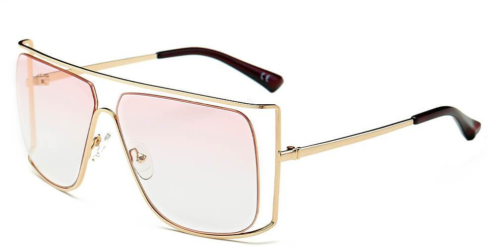 Trendy Oversize Flat Top Metal Frame Sunglasses
