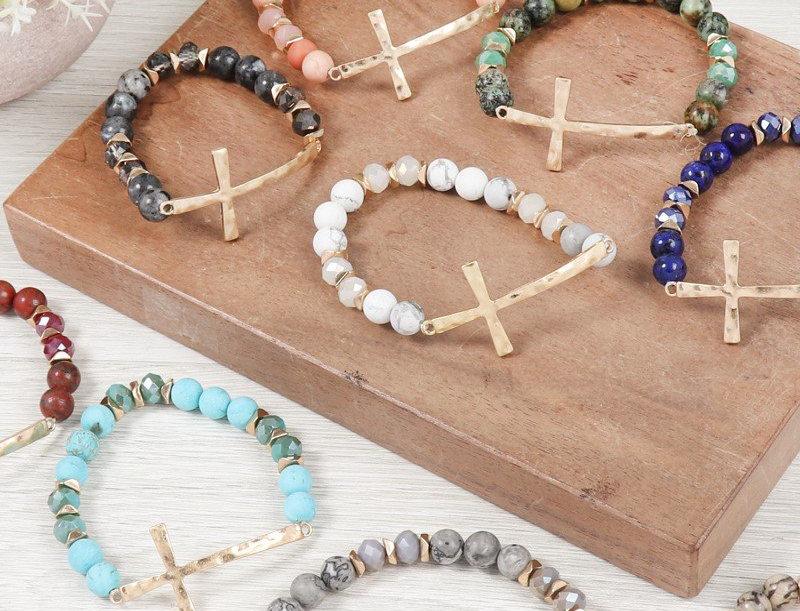 Hdb2998 - Mix Beads Hammered Cross Bracelet