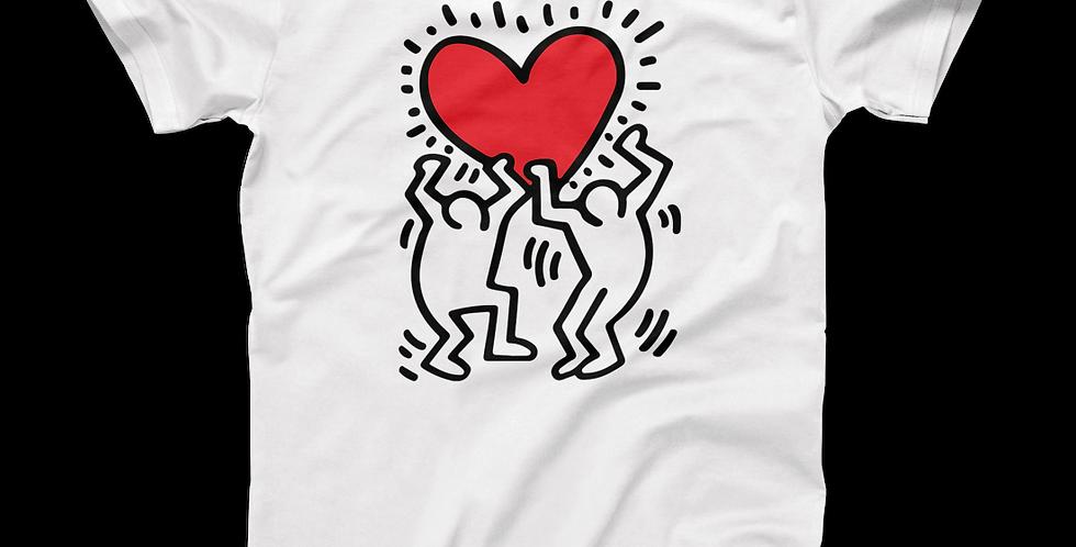 Keith Haring Men Holding Heart Icon, Street Art T-Shirt