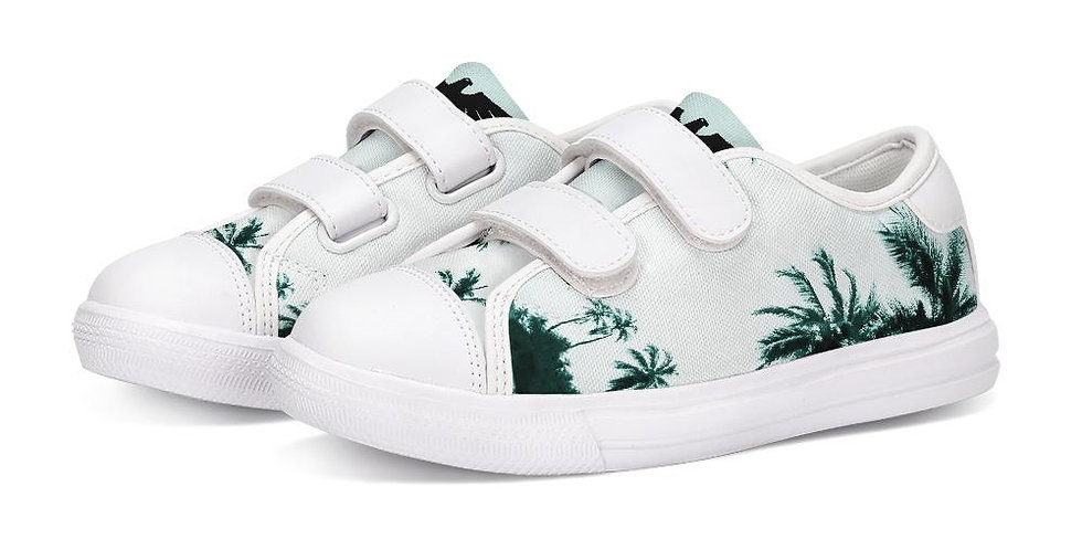 Find Your Coast Kids Canvas Palm Tree Velcro Sneaker Shoes