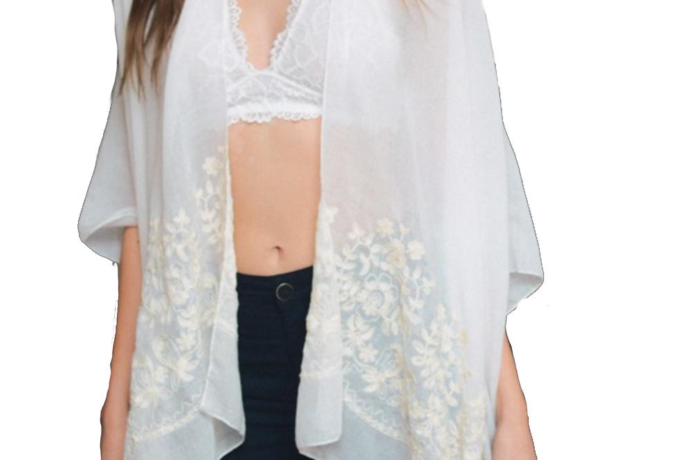 Floral Embroidered Stitch Kimono - Comes in 2 Colors