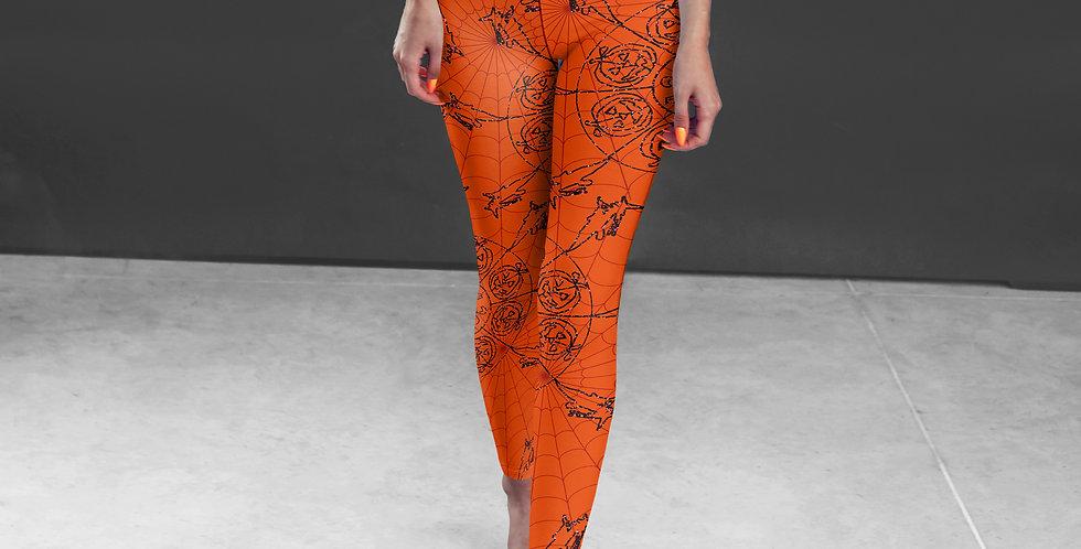 Orange Mandala leggings, Capris and Shorts Halloween