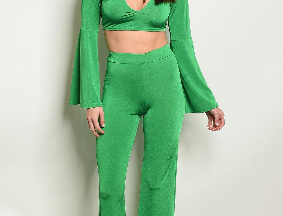Womens Green Top & Pants Set