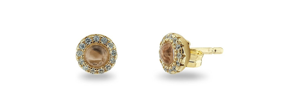 BecKids Cabuchon Aqua Crystal & Cubic Zirconia Stud Earrings Dipped in Gold