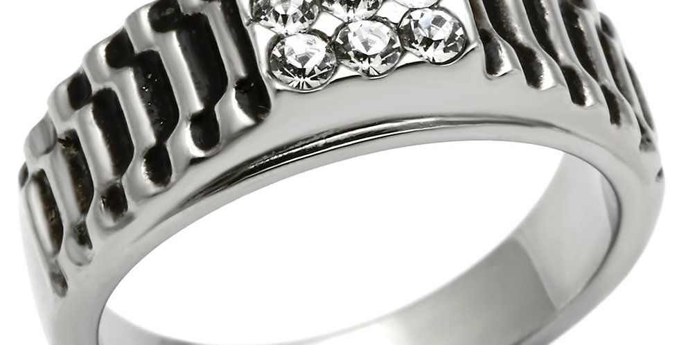 Men Stainless Steel Synthetic Crystal Rings TK368