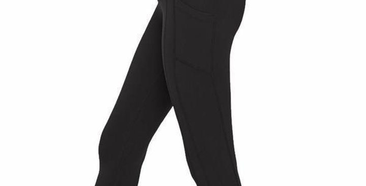 Black Live in CAPRI Length Leggings (Side Thigh Pockets) - RTS