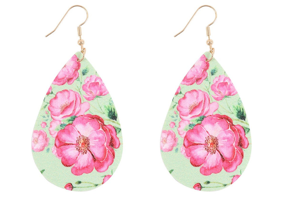 Hde3219 - Floral Printed Pear-Shaped Earrings