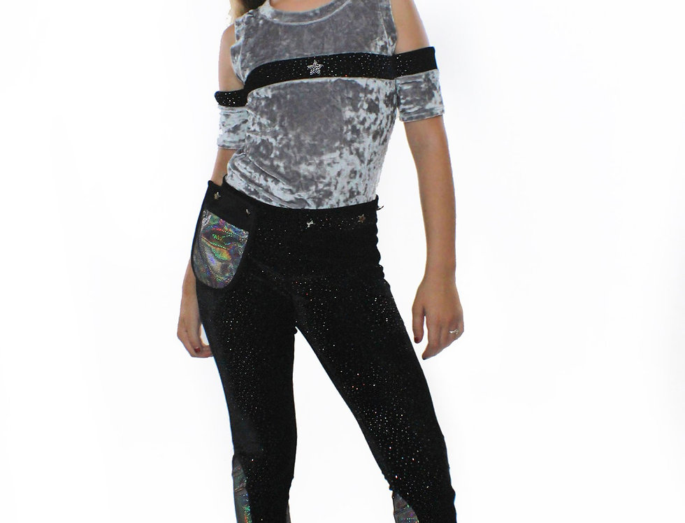 Saturn, Silver Crushed Velvet and Glitter Top