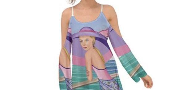 Palm Beach Purple  Kimono Sleeves Womens Boho Dress