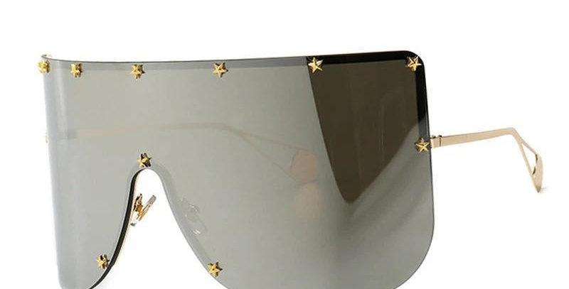 Elaiza Oversized Sunglasses - Silver Mirror