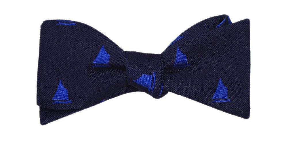 Sailboat Bow Tie - Navy, Woven Silk