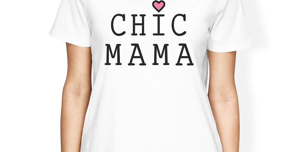 Chic Mama Women's White Short Sleeve Cotton Shirt Lovely Graphic