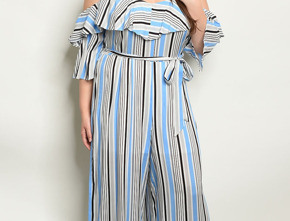 Womens Stripes Plus Size Jumpsuit