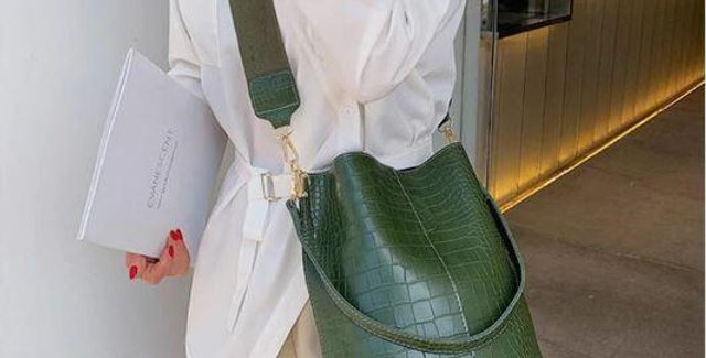 Blake Shoulder Bag -Olive Croc
